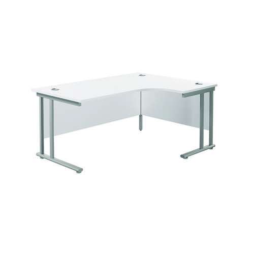 Jemini Cantilever Right Hand Radial Desk 1600mm White/Silver KF807612
