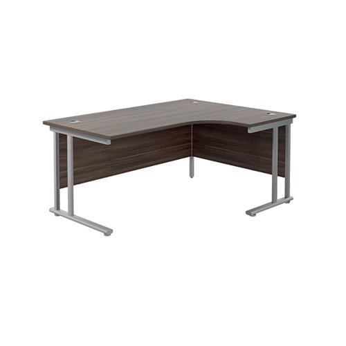 Jemini Radial Right Hand Cantilever Desk 1600x1200x730mm Dark Walnut/Silver KF807636