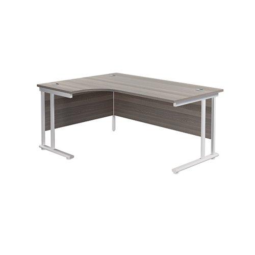 Jemini Cantilever Left Hand Radial Desk 1600mm Grey Oak/White KF807650
