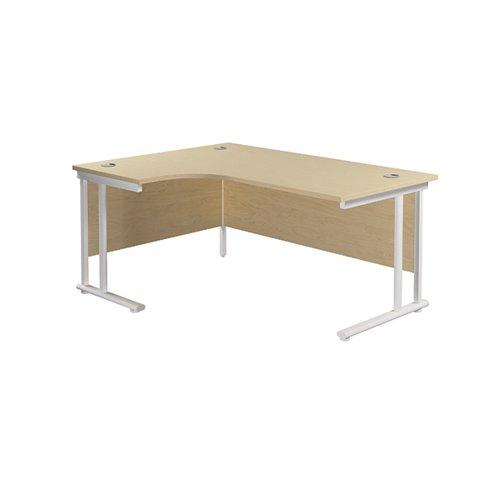 Jemini Radial Left Hand Cantilever Desk 1600x1200x730mm Maple/White KF807681