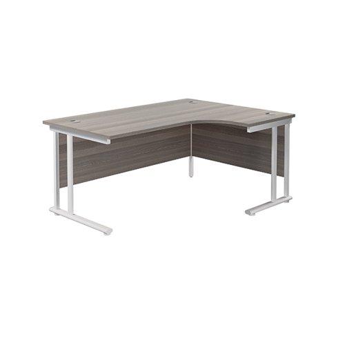 Jemini Cantilever Right Hand Radial Desk 1600 Grey Oak/White KF807711