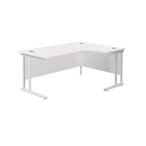 Jemini Radial Right Hand Cantilever Desk 1600x1200x730mm White/White KF807735