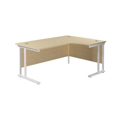 Jemini Radial Right Hand Cantilever Desk 1600x1200x730mm Maple/White KF807742
