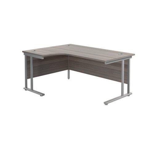 Jemini Radial Left Hand Cantilever Desk 1800x1200x730mm Grey Oak/Silver KF807773