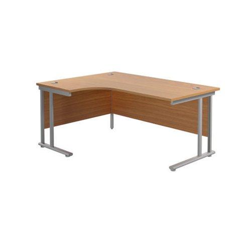 Jemini Radial Left Hand Cantilever Desk 1800x1200x730mm Nova Oak/Silver KF807780