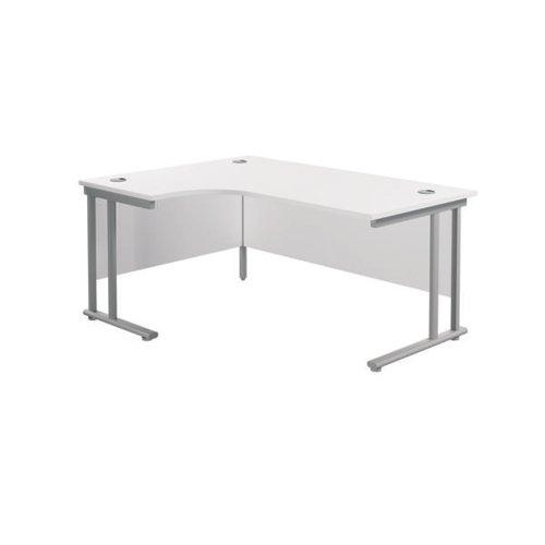 Jemini Radial Left Hand Cantilever Desk 1800x1200x730mm White/Silver KF807797