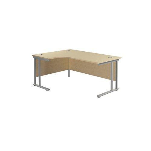 Jemini Radial Left Hand Cantilever Desk 1800x1200x730mm Maple/Silver KF807803