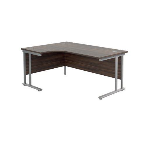 Jemini Cantilever Left Hand Radial Desk 1800 D/Walnut/Silver KF807810