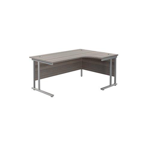 Jemini Radial Right Hand Cantilever Desk 1800x1200x730mm Grey Oak/Silver KF807834