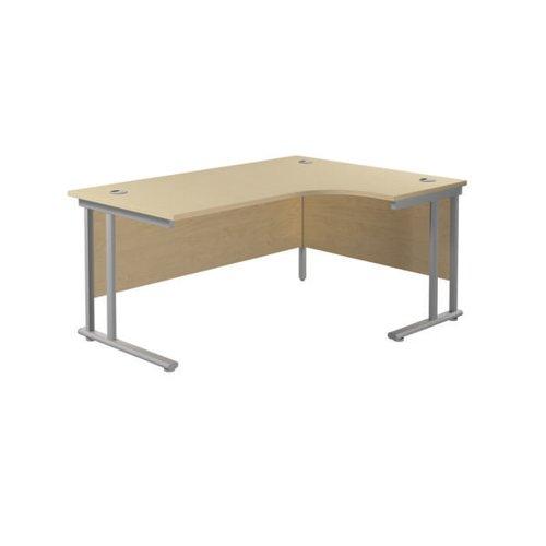 Jemini Radial Right Hand Cantilever Desk 1800x1200x730mm Maple/Silver KF807865
