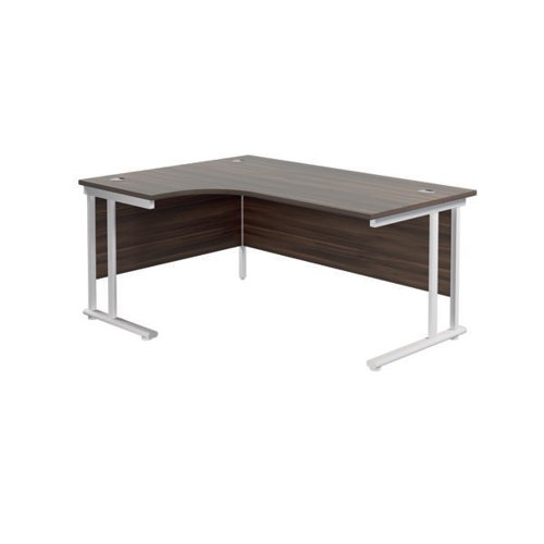 Jemini Cantilever Left Hand Radial Desk 1800mm D/Walnut/White KF807933
