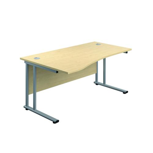 Jemini Cantilever Left Hand Wave Desk 1600mm Maple/Silver KF808282