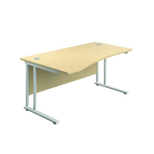 Jemini Cantilever Left Hand Wave Desk 1600mm Maple/White KF808404 by VOW, KF808404