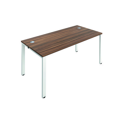 Jemini 1 Person Bench Desk 1200x800mm Dark Walnut/White KF808534