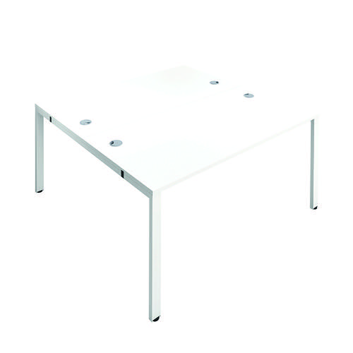 Jemini 2 Person Bench Desk 1200x800mm White/White KF808695