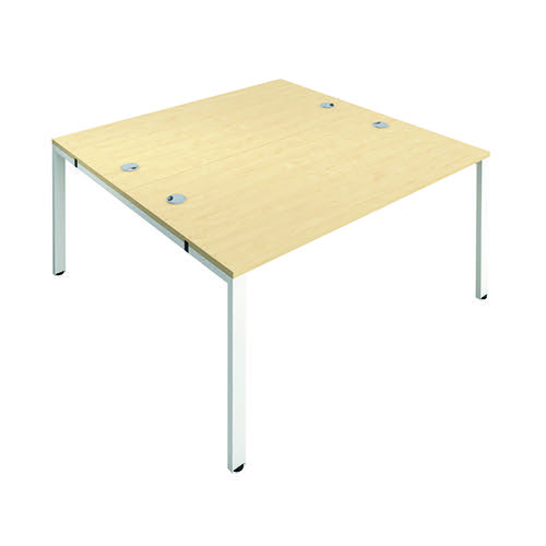 Jemini 2 Person Bench Desk 1200x800mm Maple/White KF808701