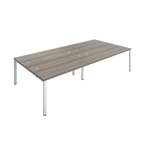 Jemini 4 Person Bench Desk 1200x800mm Grey Oak/White KF808732