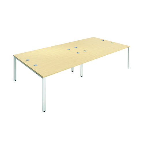 Jemini 4 Person Bench Desk 1200x800mm Maple/White KF808763