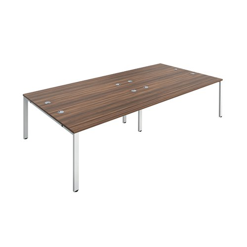 Jemini 4 Person Bench Desk 1200x800mm Dark Walnut/White KF808770