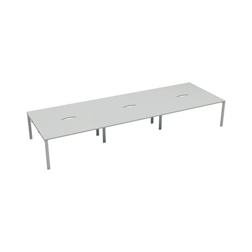 Jemini 6 Person Bench Desk 1200x800mm White/White KF808817