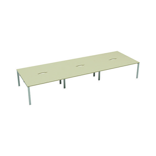 Jemini 6 Person Bench Desk 1200x800mm Maple/White KF808824
