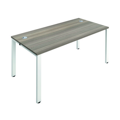 Jemini 1 Person Bench Desk 1400x800mm Grey Oak/White KF808855