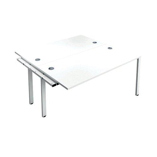 Jemini 2 Person Extension Bench Desk 1400x1600x730mm White/White KF808992