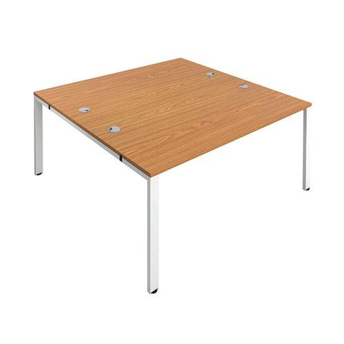 Jemini 2 Person Bench Desk 1400x1600x730mm Nova Oak/White KF809043