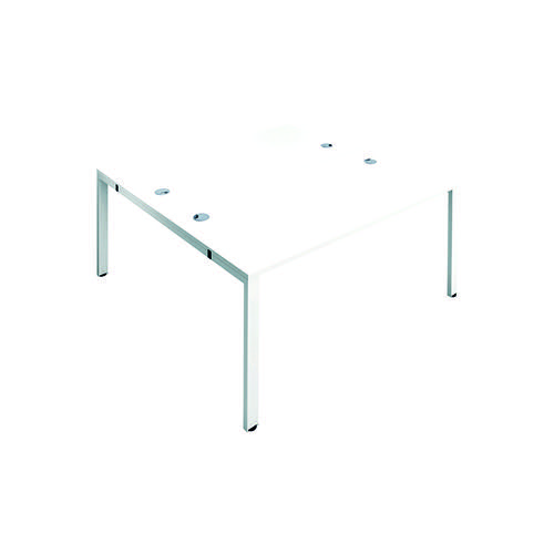 Jemini 2 Person Bench Desk 1400x800mm White/White KF809050