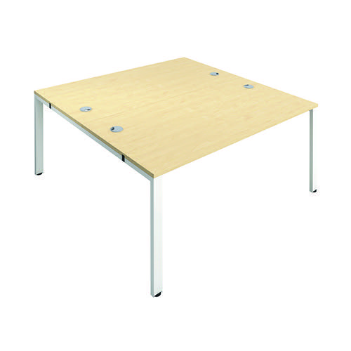 Jemini 2 Person Bench Desk 1400x800mm Maple/White KF809067