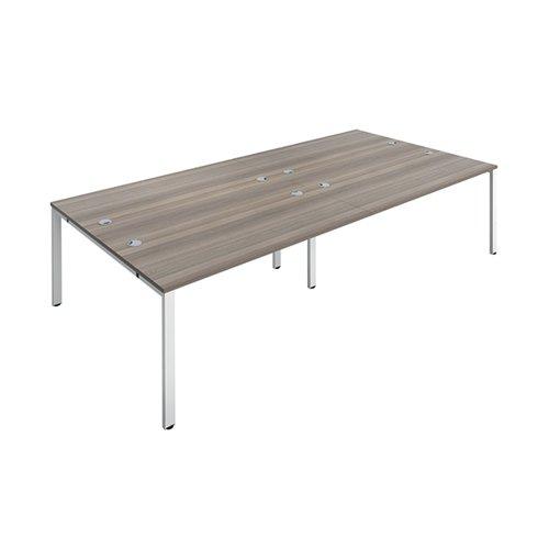 Jemini 4 Person Bench Desk 2800x1600x730mm Grey Oak/White KF809098