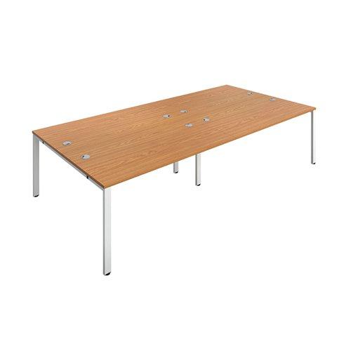 Jemini 4 Person Bench Desk 1400x800mm Nova Oak/White KF809104