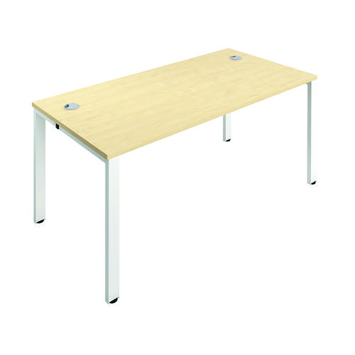 Jemini 1 Person Bench Desk 1600x800mm Maple/White KF809241