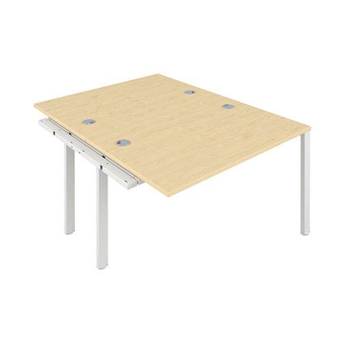 Jemini 2 Person Extension Bench Desk 1600x1600x730mm Maple/White KF809364