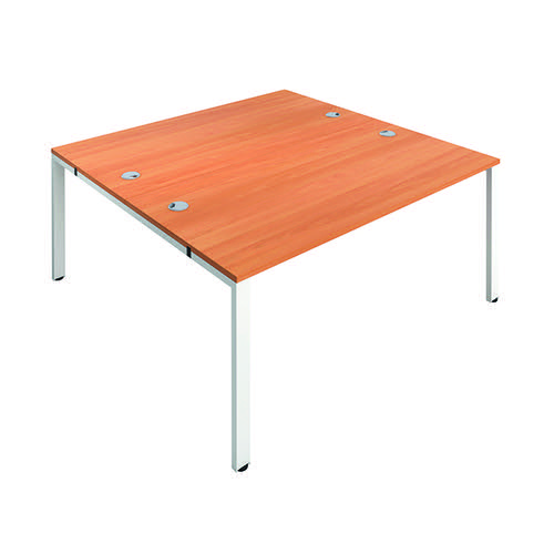 Jemini 2 Person Bench Desk 1600x800mm Beech/White KF809388