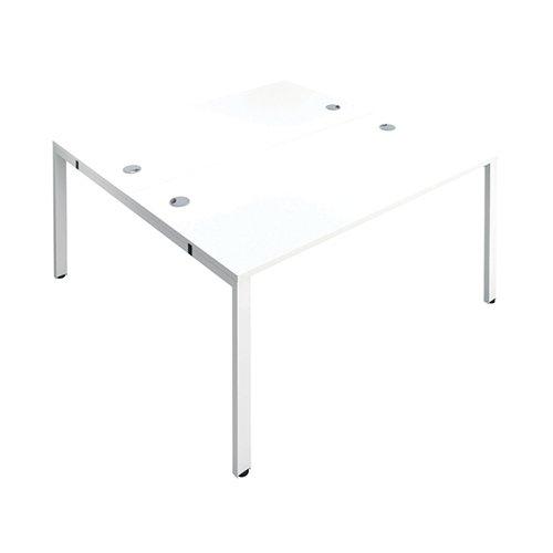 Jemini 2 Person Bench Desk 3200x1600x730mm White/White KF809418