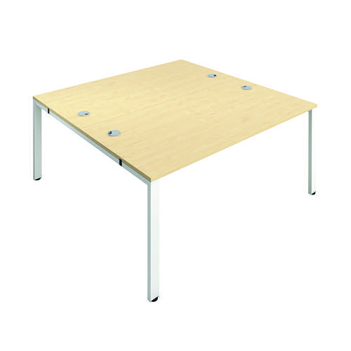 Jemini 2 Person Bench Desk 1600x800mm Maple/White KF809425