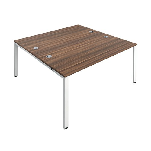Jemini 2 Person Bench Desk 1600x800mm Dark Walnut/White KF809432