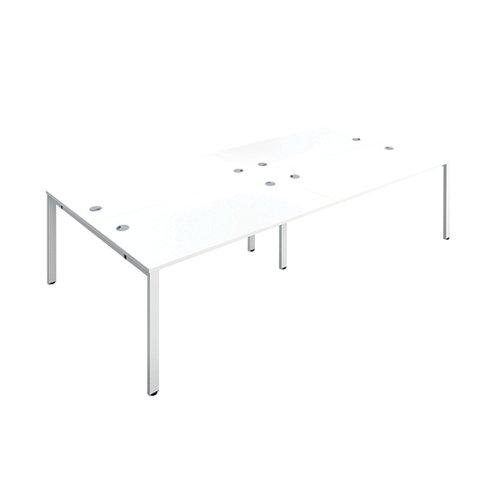 Jemini 4 Person Bench Desk 1600x800mm White/White KF809470