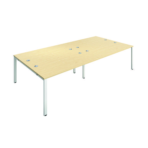 Jemini 4 Person Bench Desk 1600x800mm Maple/White KF809487