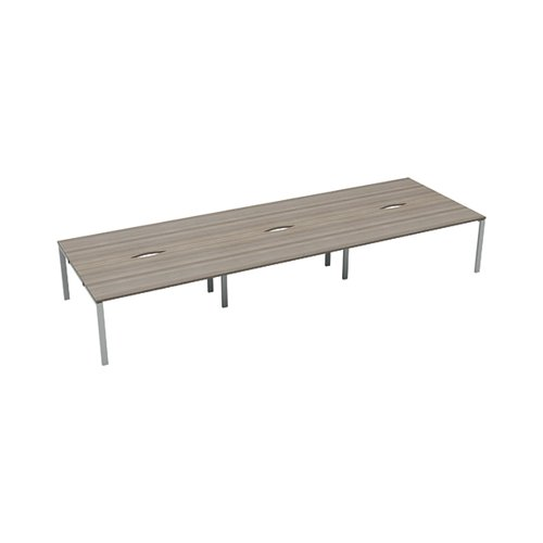Jemini 6 Person Bench Desk 1600x800mm Grey Oak/White KF809517