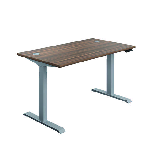 Jemini Sit Stand Desk 1200x800mm Dark Walnut/Silver KF809692