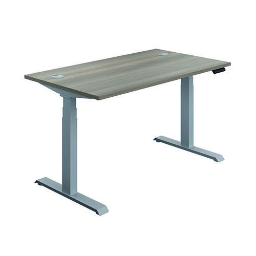 Jemini Sit Stand Desk 1200x800mm Grey Oak/Silver KF809708