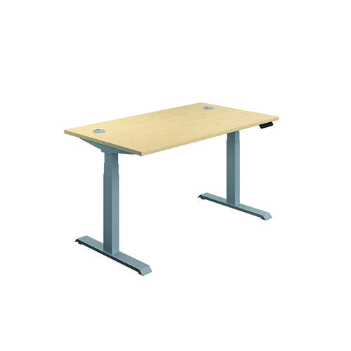 Jemini Sit/Stand Desk with Cable Ports 1200x800x630-1290mm Maple/Silver KF809715