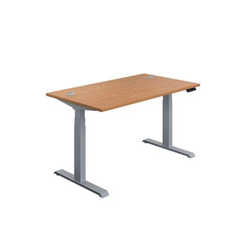 Jemini Sit/Stand Desk with Cable Ports 1200x800x630-1290mm Nova Oak/Silver KF809722