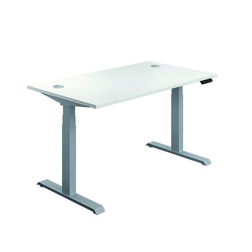 Jemini Sit Stand Desk 1200x800mm White/Silver KF809739