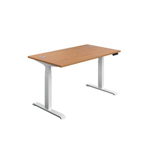 Jemini Sit Stand Desk 1200x800mm Nova Oak/White KF809784