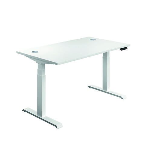 Jemini Sit/Stand Desk with Cable Ports 1200x800x630-1290mm White/White KF809791