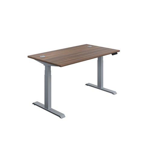 Jemini Sit Stand Desk 1400x800mm Dark Walnut/Silver KF809814