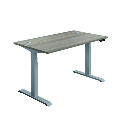 Jemini Sit/Stand Desk with Cable Ports 1400x800x630-1290mm Grey Oak/Silver KF809821
